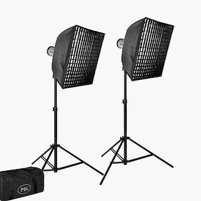 Studio Photo Strobe 2 Light Sl200 Photographic Lighting Kit Grid Softboxes