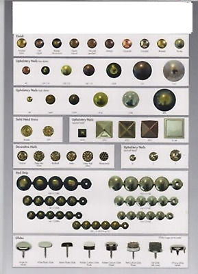 Upholstery Nails Tacks, Antique,Brass,Chrome, ASSORTED COLOURS,100, 13MM DIAME