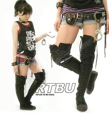 Refuse to be Usual RTBU 35-HOLE Thigh Hi Dancer Laceup Sneaker boots Mono Black
