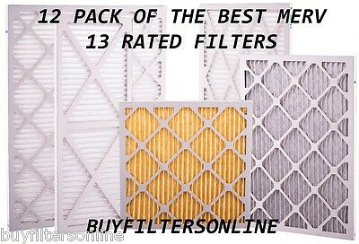 12 Pack Glasfloss Merv 13 Furnace Ac Pleated Air Filters Best & Highest Quality