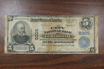 Series 1902 $5 National Currency Note, Gloversville NY
