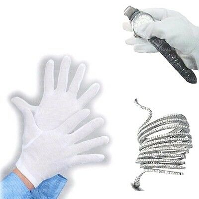 Soft White Cotton Gloves Jewellery Diamonds Coins Watches Antiques Silverware