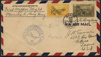 First Flight Via Clipper Manila To Macao To Honkong April 28,1937 Cover Bl1636