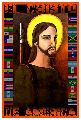 Cuban Political poster.CRISTO de AMERICA.Jesus Christ.Home interior wall design