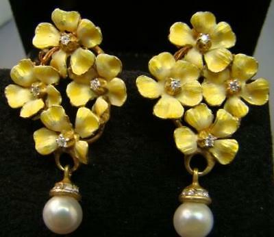 Exquisite Yellow Enamel Flower earrings with diamonds