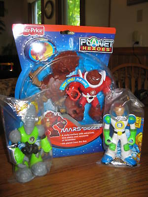 Fisher Price Planet Heroes Earth Ace Moon Lunar Mars Digger Figures