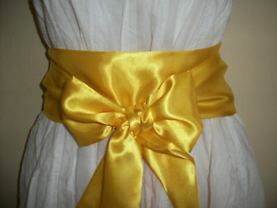 "New 3.5X60"" Yellow Satin Sash Selt Tie Bow Ribbon Style Belt For Party Dress"