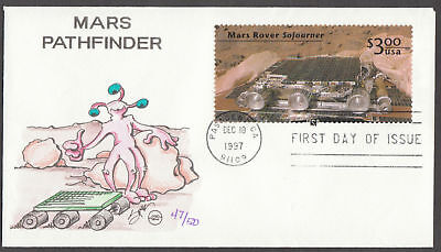 """#3178 Handpainted """"mars Rover"""" Fdc Bl2428"""