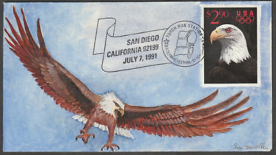 """#2540 """"eagle"""" On First Day Cover Hand Painted By Tom Mueller 2/25 Bl2424"""