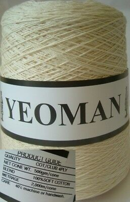 Yeoman Yarn 400g 4ply Cotton Hand Knitting Machine Ecru Y216.02