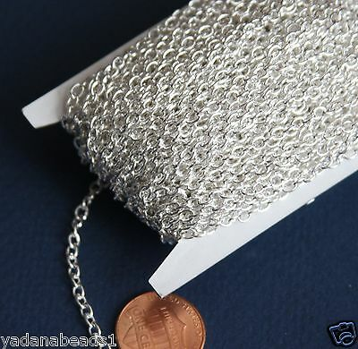 500ft spool Silver Plated Round Cable Chain 2.6X3.9mm