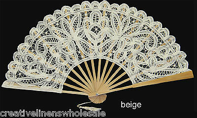 Beige Victorian Battenburg Lace Wedding Bridal FAN Party Supply Creative Linens