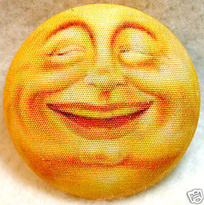 Happy or Sinister  Moon Face  Fabric Covered Button