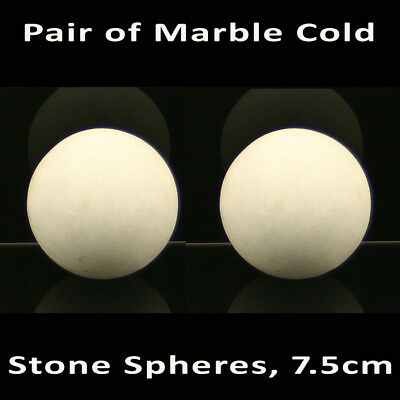 HOT STONE MASSAGE: Pair Marble Cold Stone Spheres 7.5cm