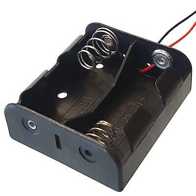 C Type x 2 Battery Holder Black With 12cm Leads