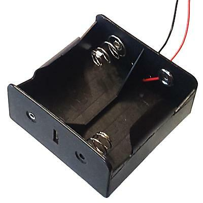 D Type x 2 Battery Holder Black With 12cm Leads