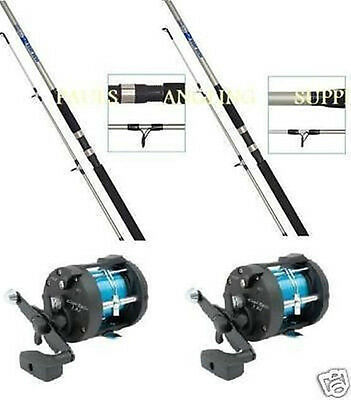 2 X  7ft BOAT RODS AND MULTIPLIER REELS WITH LINE