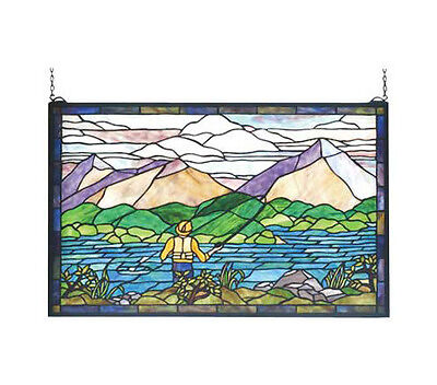 Bit of Heaven  Stained Glass Window Fly Fishing Angler