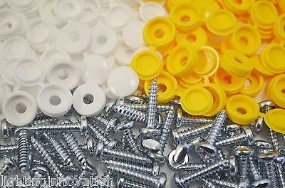 Number Plate Car Fixing Fitting Kit Screws & Caps X 500