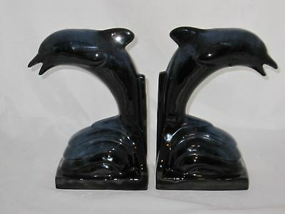 Blue Mountain Pottery (2) Pair Dolphin Bookends Cobalt Blue