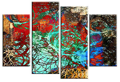 Large Abstract Art Picture Beige Teal Brown Rectangle Square Canvas Multi 112cm