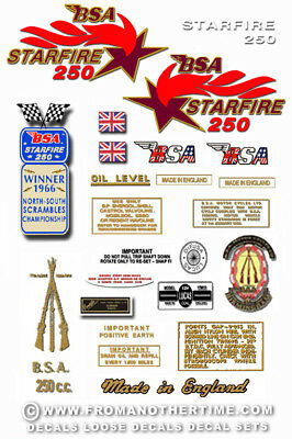 1968 to 69: B25 - BSA Starfire Decals - BSA B25 decals
