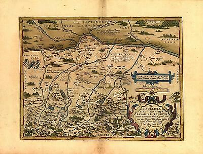 Large A1 Size Abraham Ortelius Bavaria Augsburg Reproduction Old Antique Map NEW