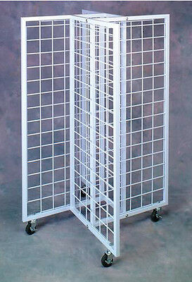 "Rolling WHITE 4-WAY 3 1/2"" OC GRIDWALL DISPLAY New"
