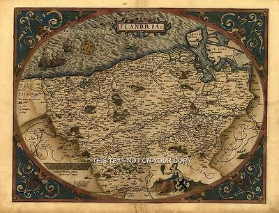 Large A1 Size Abraham Ortelius Flanders Reproduction Vintage Old Antique Map NEW