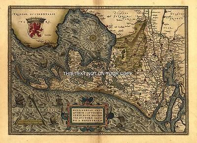 A1 Colour Abraham Ortelius Netherlands Holland Reproduction Old Antique Map NEW