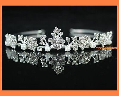 Bloom Rhinestone Tiara Crown Headband Bridal Party Wedding H345 Silver Plated