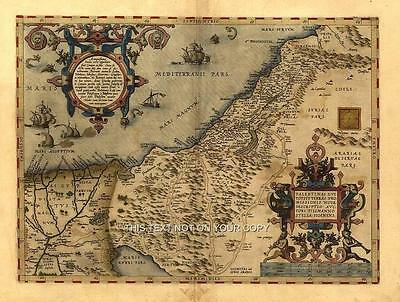 Large Palestinian Middle East Palestine Syria Israel Jordan Old Antique Map Plan