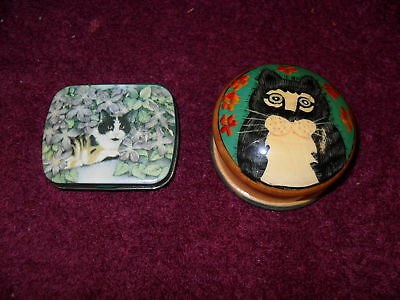 """SET of TWO (2) Collectible """"CAT"""" """"PILLBOXES"""""""