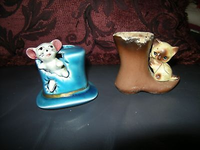 2 pottery toothpick match holders mouse cat !