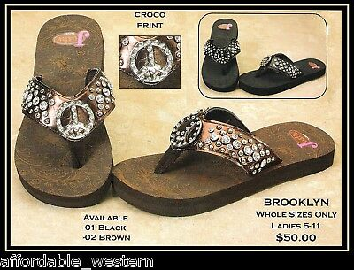 eb2900cdb JUSTIN BOOT -JEWELED FLIP-FLOPS- Crystal PEACE Sign Western 83 ...