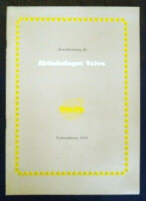 Volvo Annual Report For 1956 (Swedish Text).