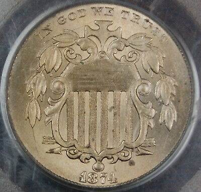 1874 Shield Nickel Coin, PCGS MS-64, Better Coin GKG