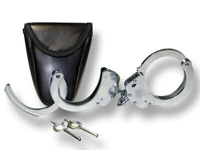 Nickel Plated Double Lock Chained Handcuffs  382SL