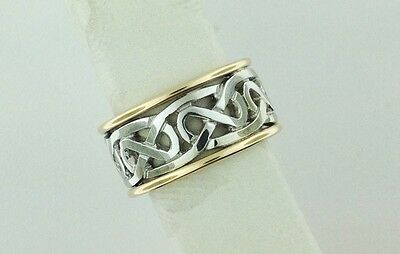 14K White & Yellow Celtic Knot Wedding Ring Irish Made Size 9 FADO made Ireland