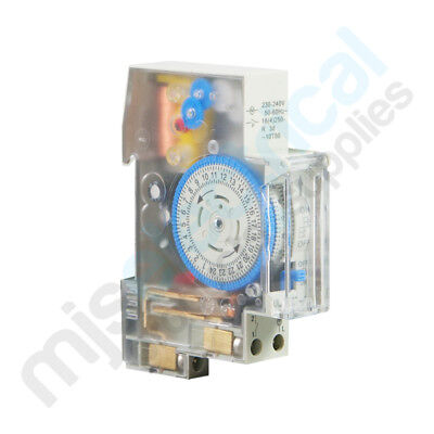 24 Hour Timer Analog Din Rail Mounted 1 Pole 16 Amp