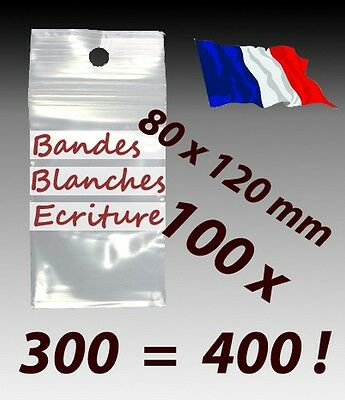 LOT 100  sachets  plastique zip 3 bandes 80x120 8x12