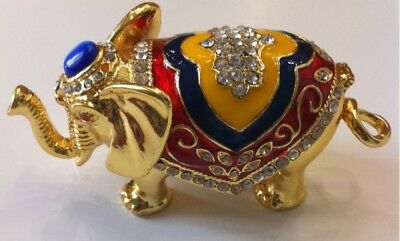 Bejeweled Elephant Statue Figurine Trinket Jewelry Box