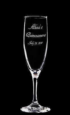 4 Personalized Engraved Quinceanera Champagne Glasses