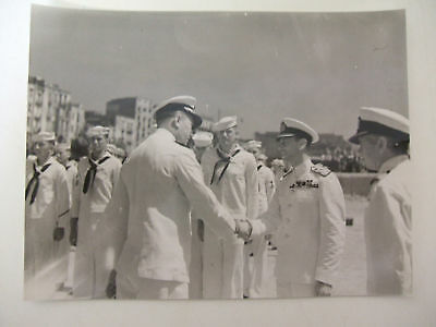 king & american naval officers italy 24/7/1944  photograph