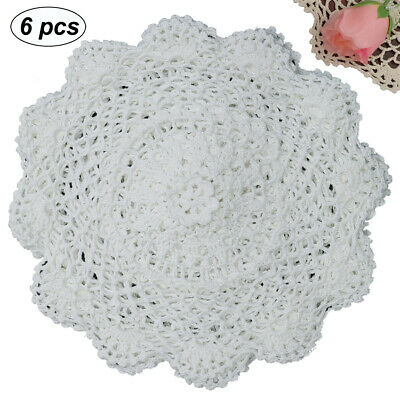 "6PCS 10"" Round Crochet Lace Doily WHITE 100% Cotton Handmade, Set of 6 Pieces"