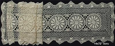 "14x72"" Beige Cotton Crochet Lace Table Runner FREE S&H"