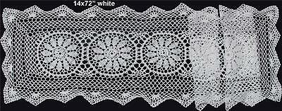 "14x72"" White Cotton Crochet Lace Table Runner Handmade FREE S&H"