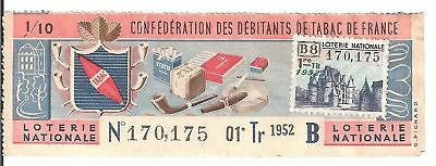 Loterie Nationale - Confederation Debitants Tabac 1952