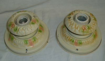 Chic Tin Ceiling Light Pair Vintage Shabby