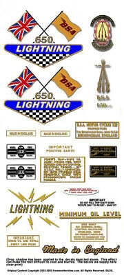 1968-69: A65L LIGHTNING -BSA A65L Decals- Full Set